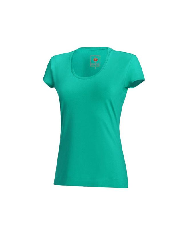 Shirts, Pullover & more: e.s. T-shirt cotton stretch, ladies' + lagoon