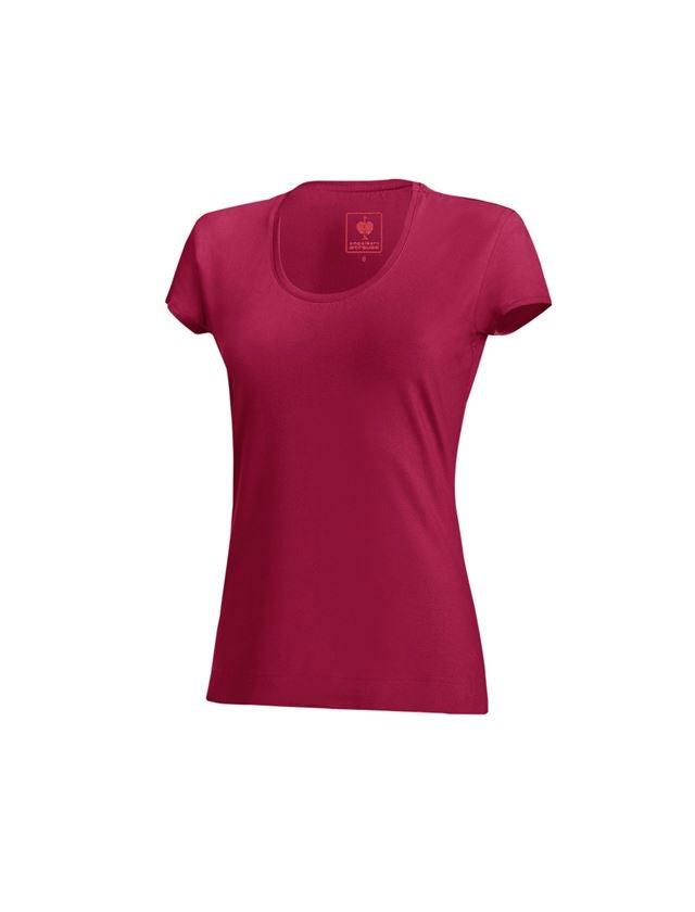 Shirts & Co.: e.s. T-Shirt cotton stretch, Damen + beere