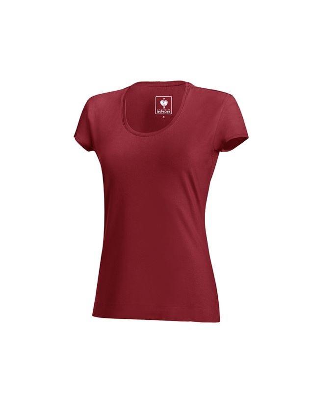 Shirts, Pullover & more: e.s. T-shirt cotton stretch, ladies' + bordeaux