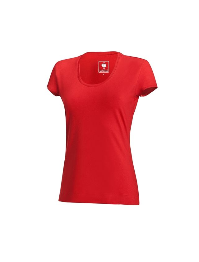 Shirts, Pullover & more: e.s. T-shirt cotton stretch, ladies' + fiery red