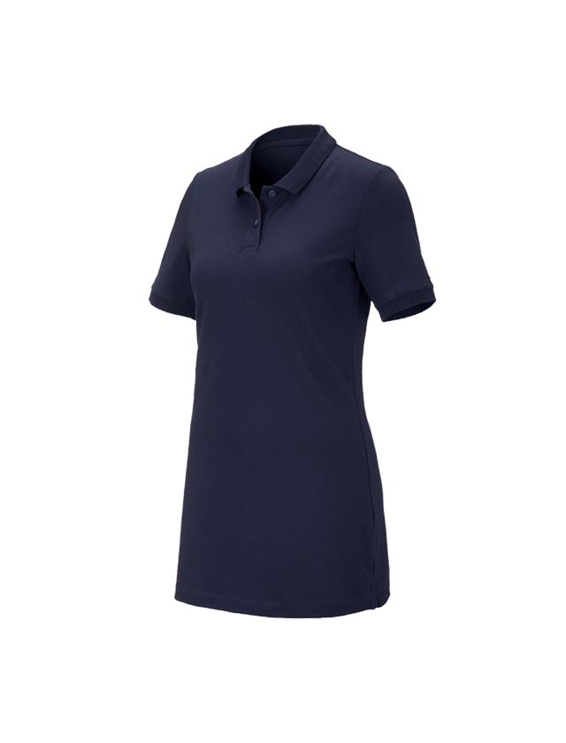Shirts, Pullover & more: e.s. Pique-Polo cotton stretch, ladies', long fit + navy