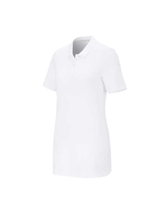 Shirts, Pullover & more: e.s. Pique-Polo cotton stretch, ladies', long fit + white