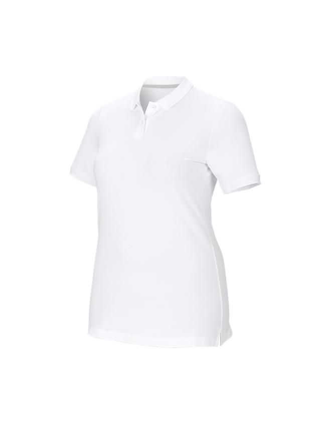 Shirts & Co.: e.s. Piqué-Polo cotton stretch, Damen, plus fit + weiß