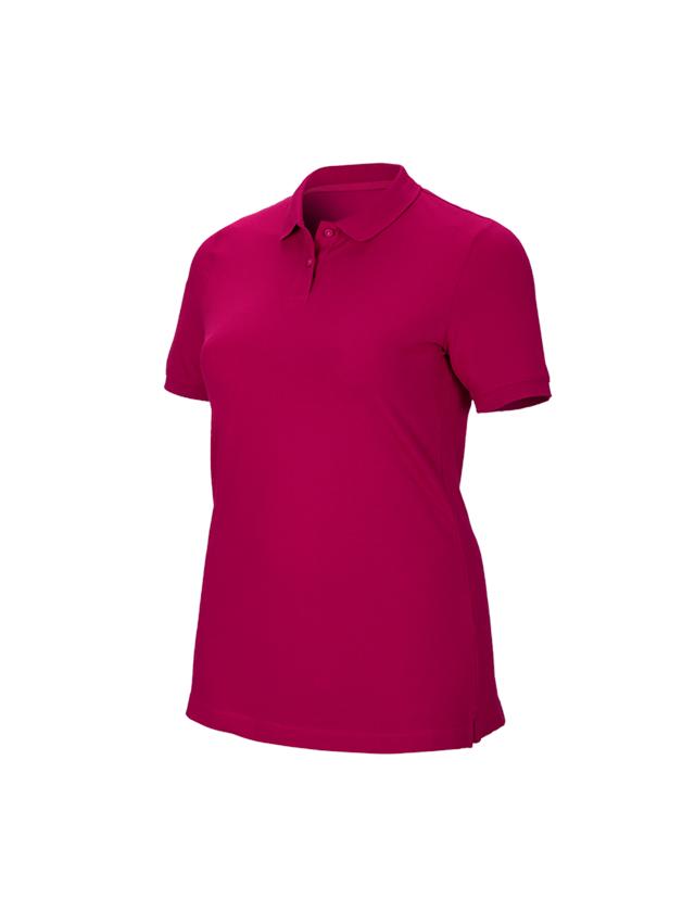 Shirts & Co.: e.s. Piqué-Polo cotton stretch, Damen, plus fit + beere