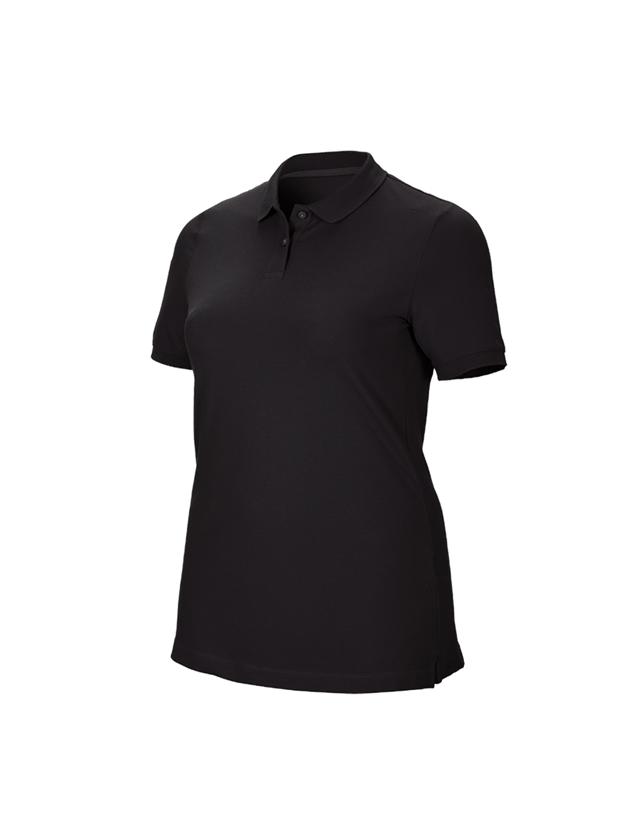Shirts & Co.: e.s. Piqué-Polo cotton stretch, Damen, plus fit + schwarz