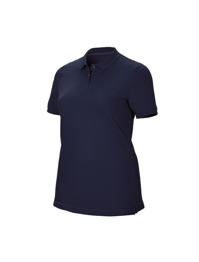 Shirts & Co.: e.s. Piqué-Polo cotton stretch, Damen, plus fit + dunkelblau