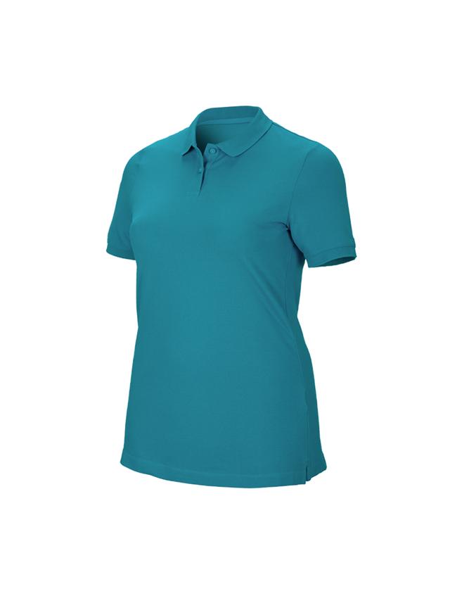 Shirts & Co.: e.s. Piqué-Polo cotton stretch, Damen, plus fit + ozean