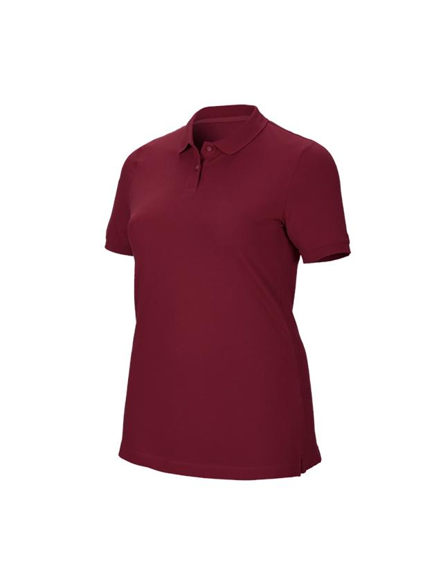 Shirts & Co.: e.s. Piqué-Polo cotton stretch, Damen, plus fit + bordeaux