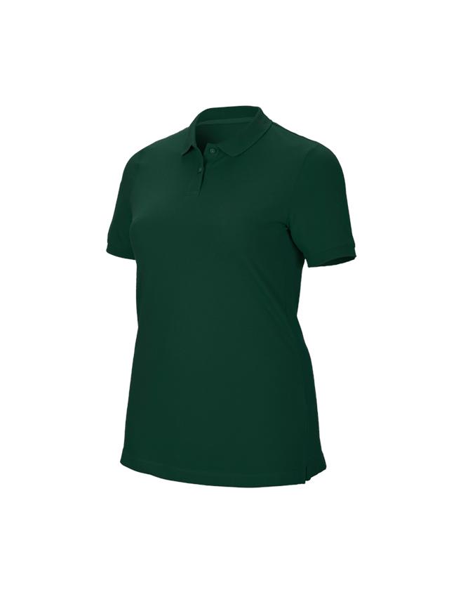 Shirts & Co.: e.s. Piqué-Polo cotton stretch, Damen, plus fit + grün