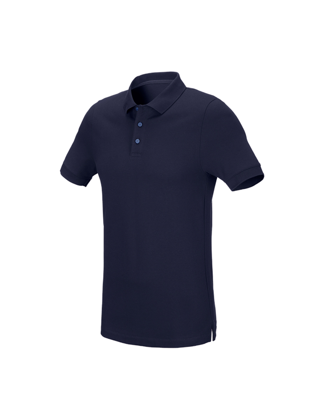 Shirts, Pullover & more: e.s. Pique-Polo cotton stretch, slim fit + navy