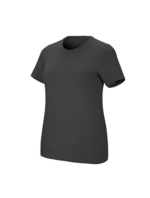 Shirts & Co.: e.s. T-Shirt cotton stretch, Damen, plus fit + anthrazit