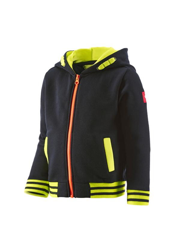 Shirts & Co.: Hoody-Sweatjacke e.s.motion 2020,Kinder + schwarz/warngelb/warnorange