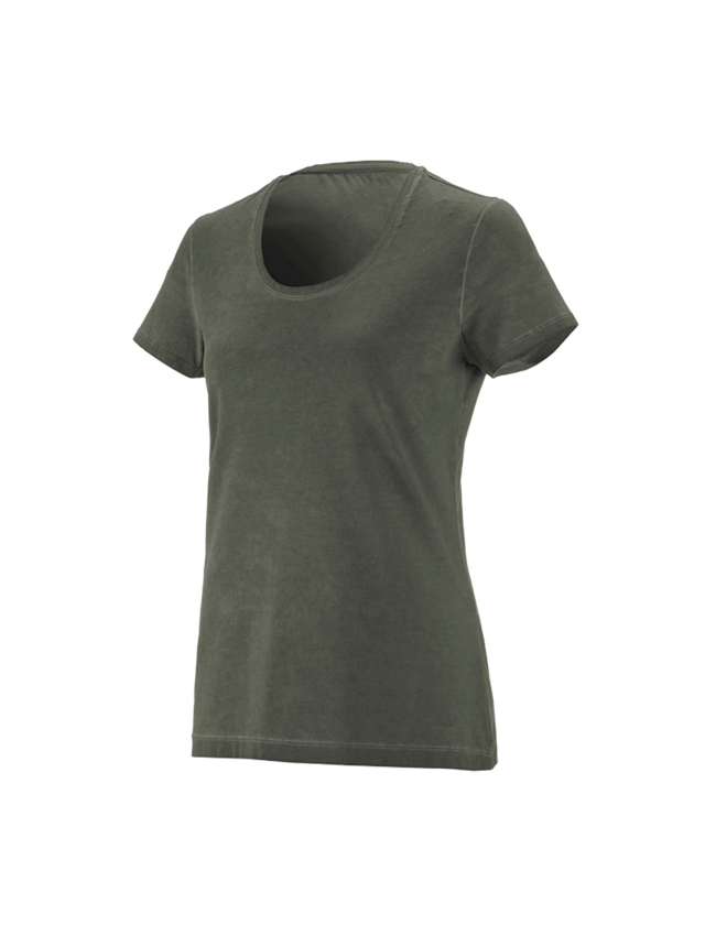 Shirts & Co.: e.s. T-Shirt vintage cotton stretch, Damen + tarngrün vintage
