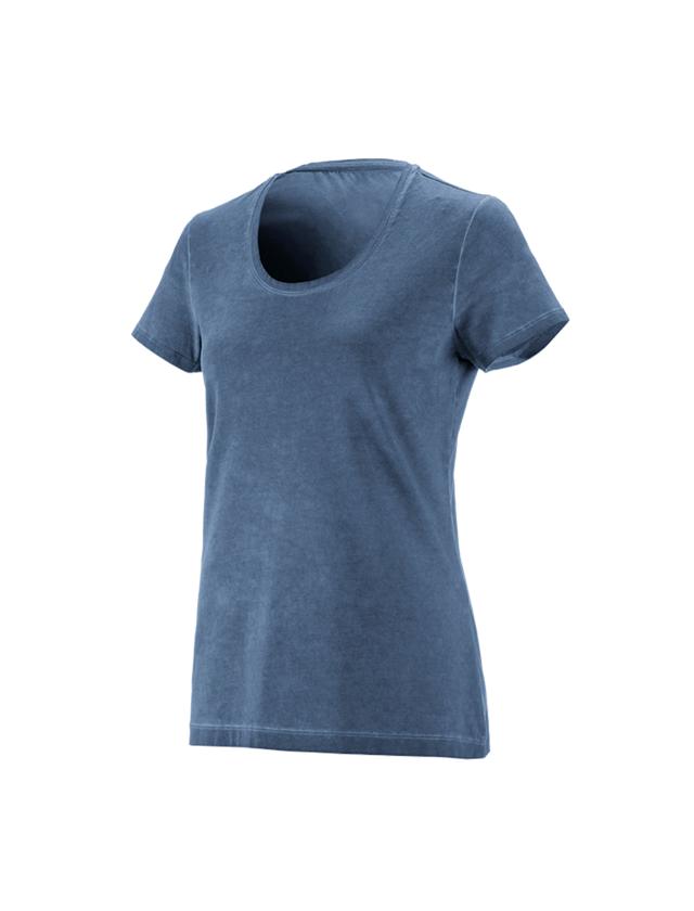 Shirts & Co.: e.s. T-Shirt vintage cotton stretch, Damen + antikblau vintage