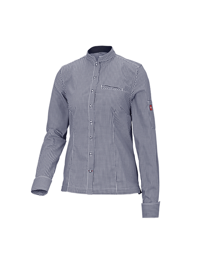 Shirts, Pullover & more: e.s. Work blouse mandarin, ladies' + navy/white checked