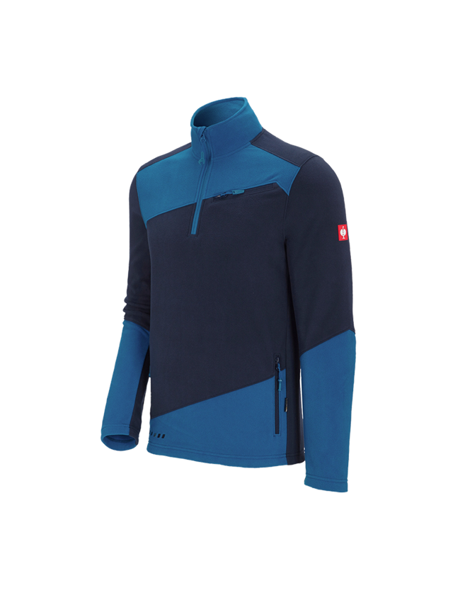 Shirts & Co.: Fleece Troyer e.s.motion 2020 + dunkelblau/atoll