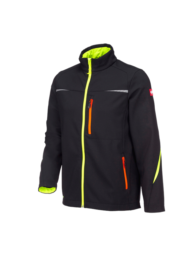 Work Jackets: Softshell jacket e.s.motion 2020 + black/high-vis yellow/high-vis orange