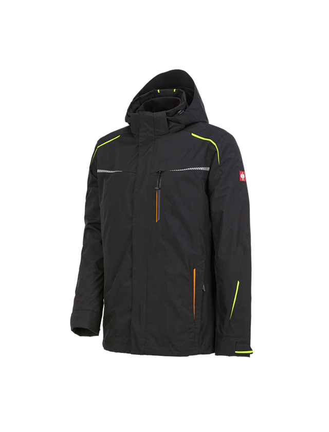 Work Jackets: 3 in 1 functional jacket e.s.motion 2020, men's + black/high-vis yellow/high-vis orange