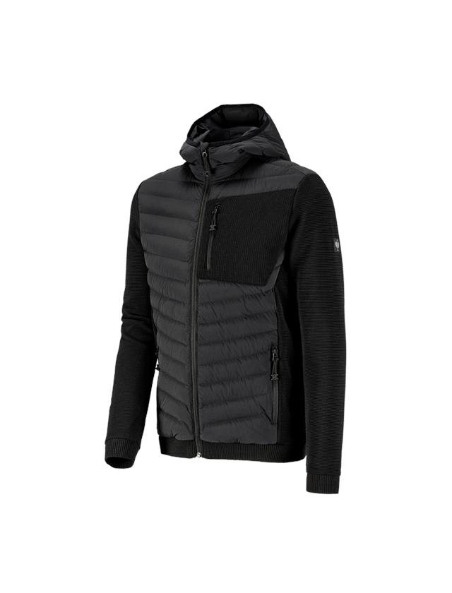 Jacken: Hybrid Kapuzenstrickjacke e.s.motion ten + schwarz