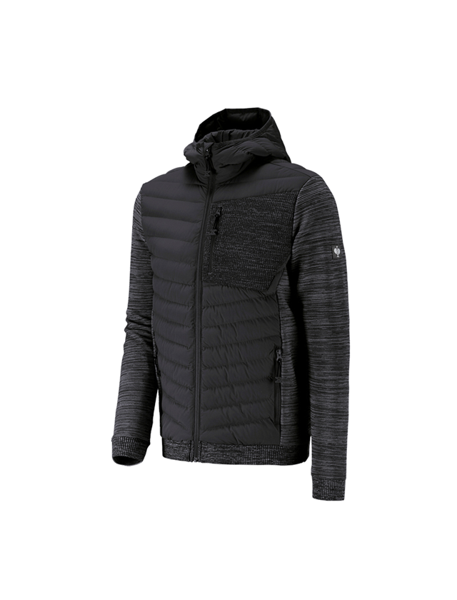 Work Jackets: Hybrid hooded knitted jacket e.s.motion ten + oxidblack melange