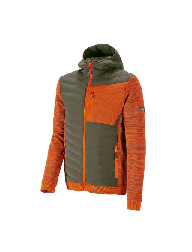 Work Jackets: Hybrid hooded knitted jacket e.s.motion ten + disguisegreen/high-vis orange melange
