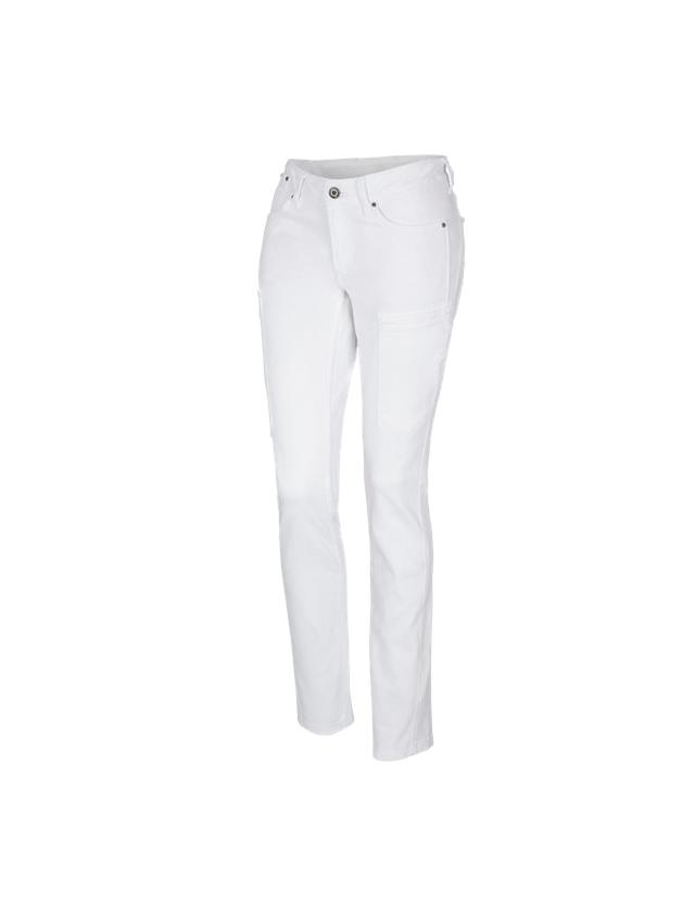 Hosen: e.s. 7-Pocket-Jeans, Damen + weiß