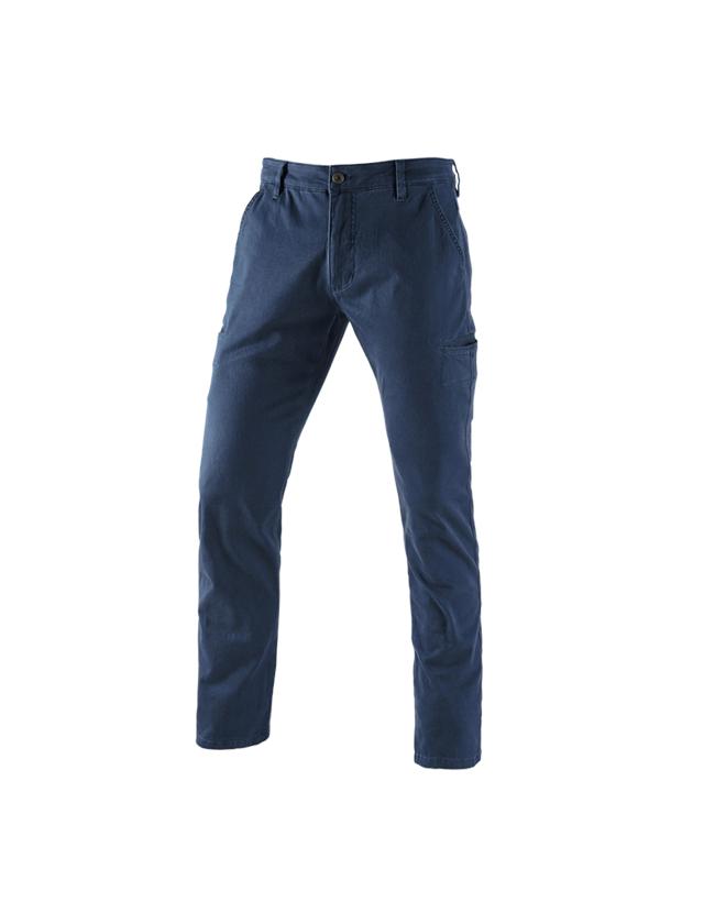 Pantalons de travail: e.s. Pantalon de travail Chino, hommes + bleu foncé
