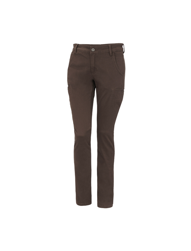 Work Trousers: e.s. Trousers  Chino, ladies' + chestnut