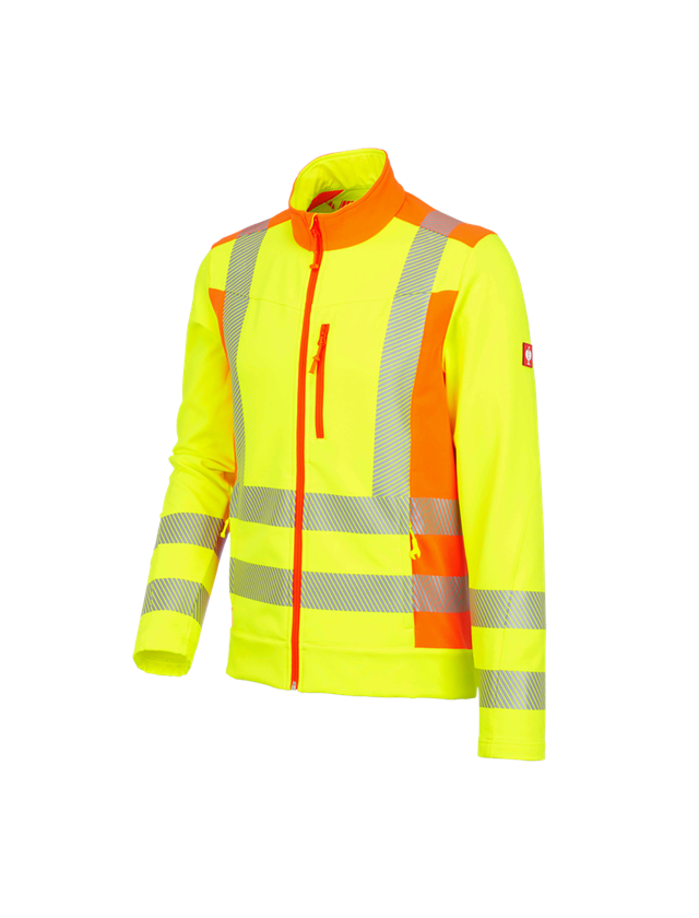 Work Jackets: High-vis softshell jacket softl. e.s.motion 2020 + high-vis yellow/high-vis orange