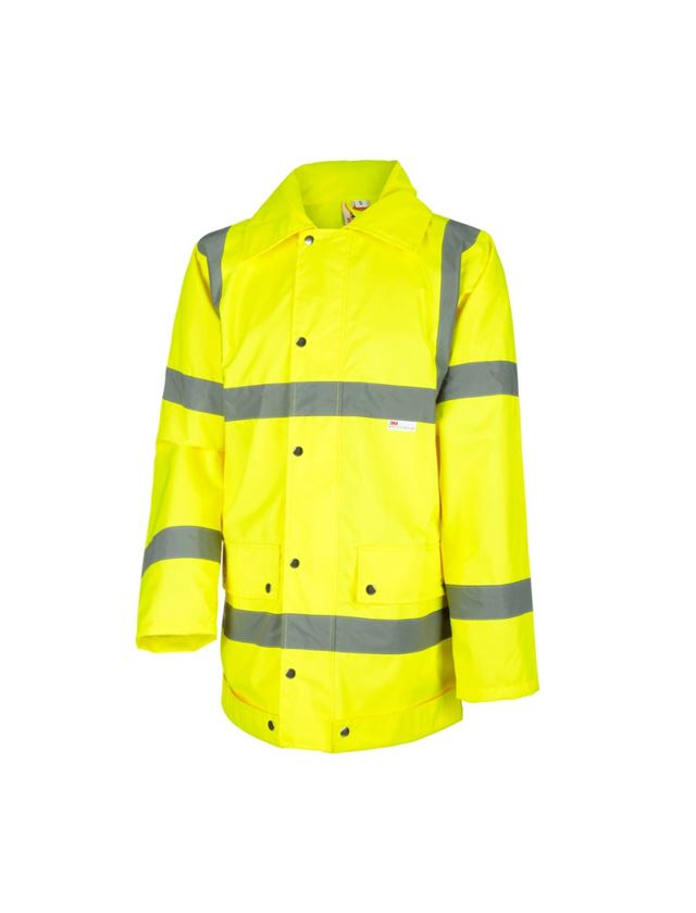 Work Jackets: STONEKIT High-vis rain jacket + high-vis yellow