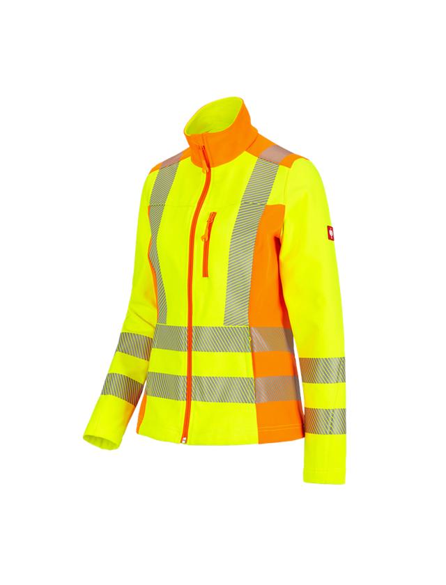 Work Jackets: High-vis soft.jacket softlight e.s.motion 2020,lad + high-vis yellow/high-vis orange