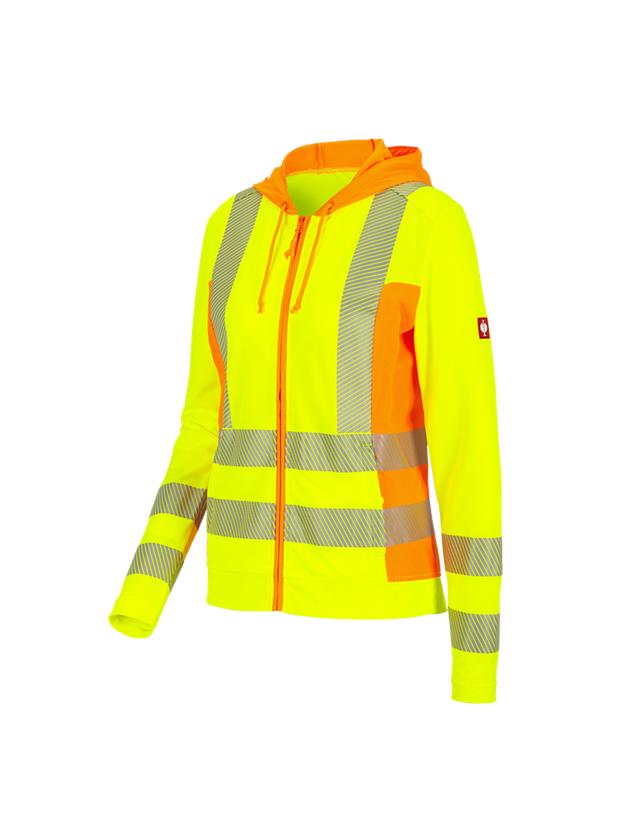 Work Jackets: High-vis funct.hooded jacket e.s.motion 2020,lad. + high-vis yellow/high-vis orange