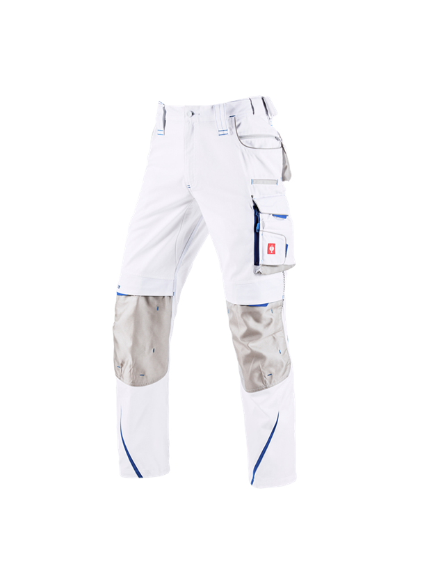 Work Trousers: Trousers e.s.motion 2020 + white/gentian blue