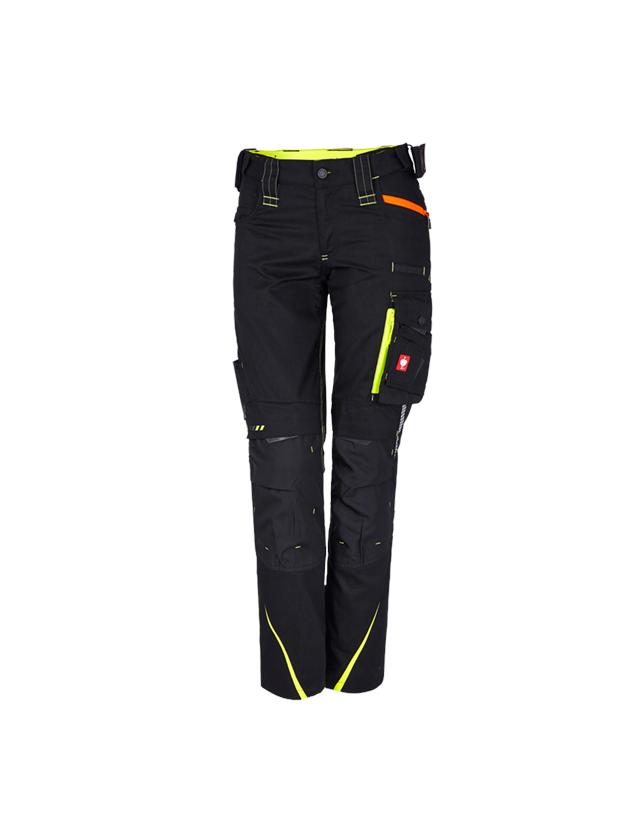 Work Trousers: Ladies' trousers e.s.motion 2020 + black/high-vis yellow/high-vis orange
