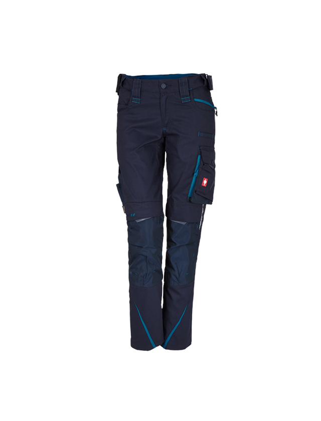 Work Trousers: Ladies' trousers e.s.motion 2020 + navy/atoll