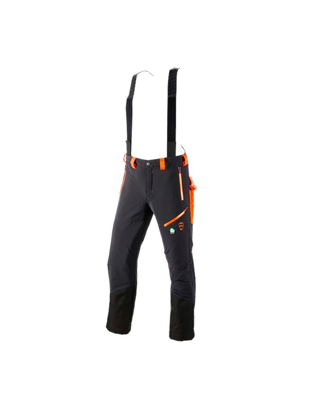 Pantalons de travail: Pantalon à taille élastique anticoupure e.s.vision + noir/orange fluo