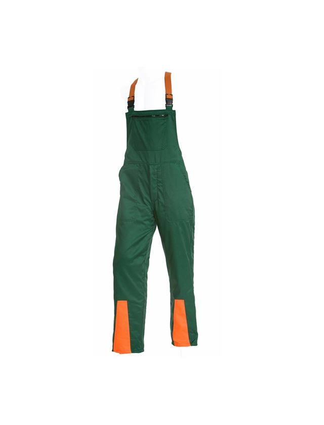 Hosen: Forst-Schnittschutz-Latzhose Basic + grün/orange