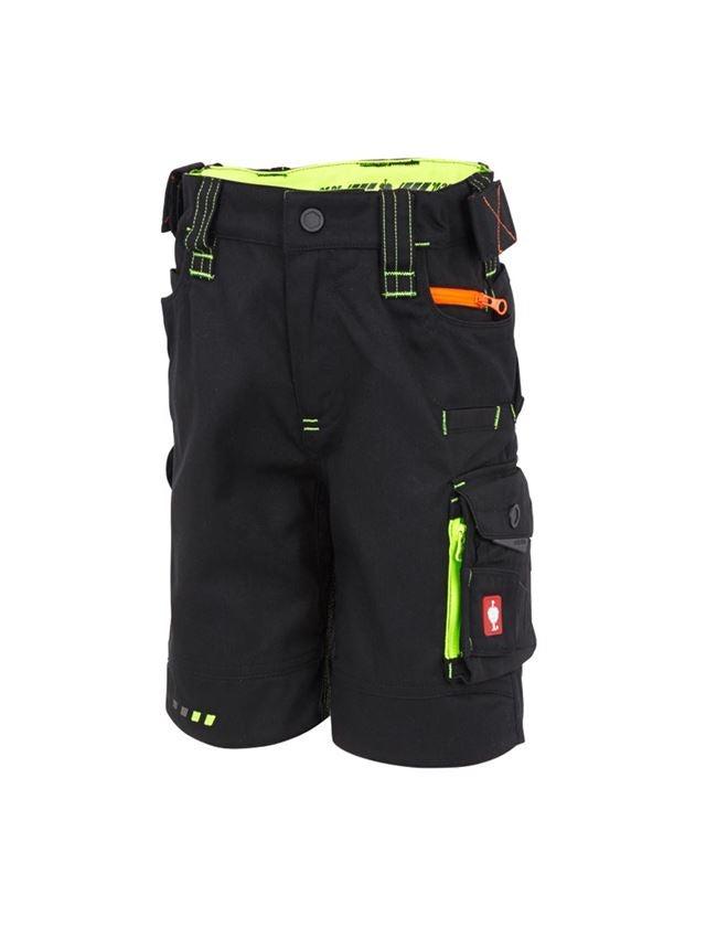 Shorts: Short e.s.motion 2020, Kinder + schwarz/warngelb/warnorange