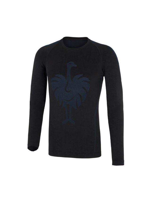 Unterwäsche | Thermokleidung: e.s. Funktions-Longsleeve seamless - warm + schwarz/enzianblau