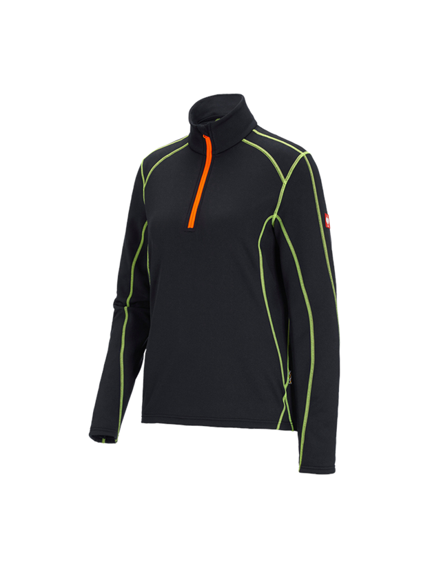 Shirts, Pullover & more: Funct.-Troyer thermo stretch e.s.motion 2020, la. + black/high-vis yellow/high-vis orange
