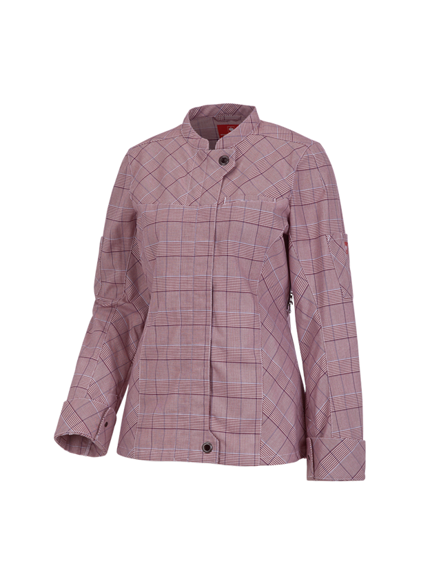 Work Jackets: Work jacket long sleeved e.s.fusion, ladies' + ruby/white/navy