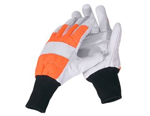 Leather forestry cut protection gloves