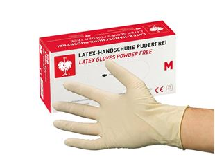 Disposable latex examination gloves, powder-free
