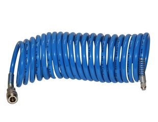Compressed air spiral hose with connections