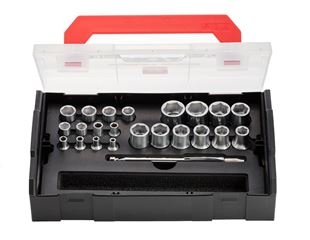 e.s. Socket wrench set powergrip 1/4+1/2 in Boxx