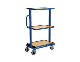 Trolley with 3 wooden shelves, tilting