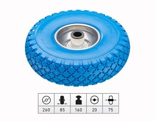 Spare polyurethane wheel with steel wheel rim