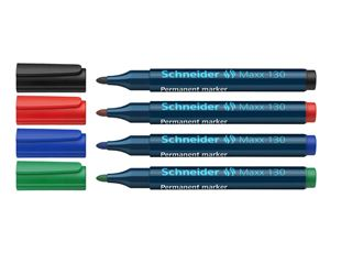 Schneider Permanent Marker 130, Assorted Pack of 4