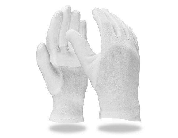 Textile: Cotton fourchette gloves, reinforced, pack of 12 + white