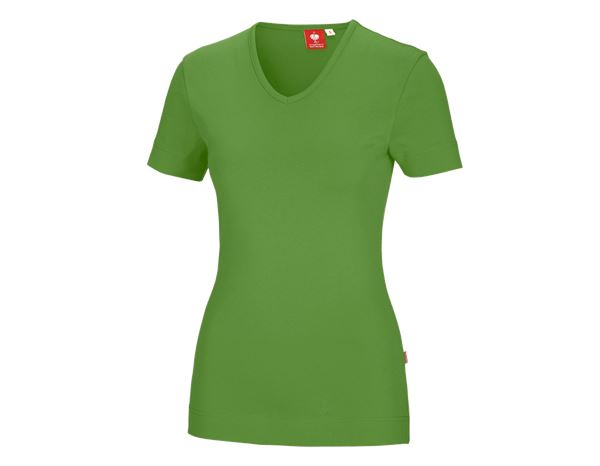 Shirts & Co.: e.s. T-Shirt cotton V-Neck, Damen + seegrün